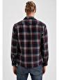 DeFacto Ekose Uzun Kollu Regular Fit Oduncu Gömlek Ceket Lacivert